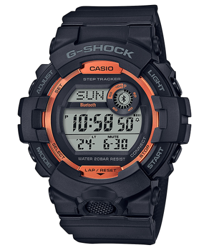 Спортивные фитнес-часы CASIO G-SHOCK GBD-800SF-1ER оранжево-черные, шагомер, Bluetooth, ударопрочные, электронные.